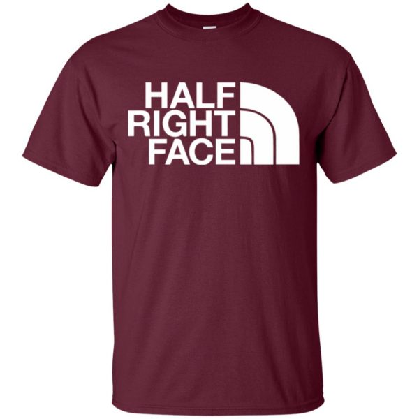 half right face t shirt - maroon