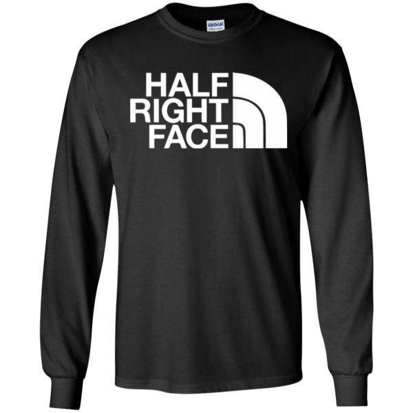 half right face long sleeve - black
