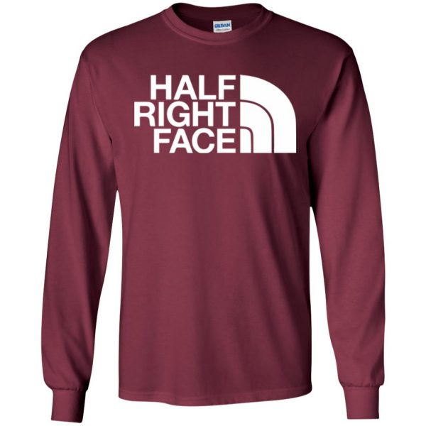 half right face long sleeve - maroon