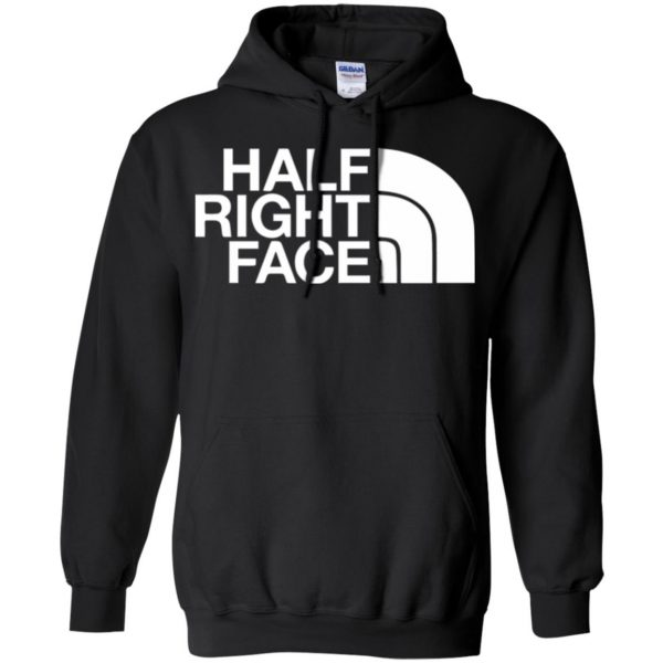half right face hoodie - black