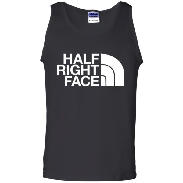 half right face tank top - black