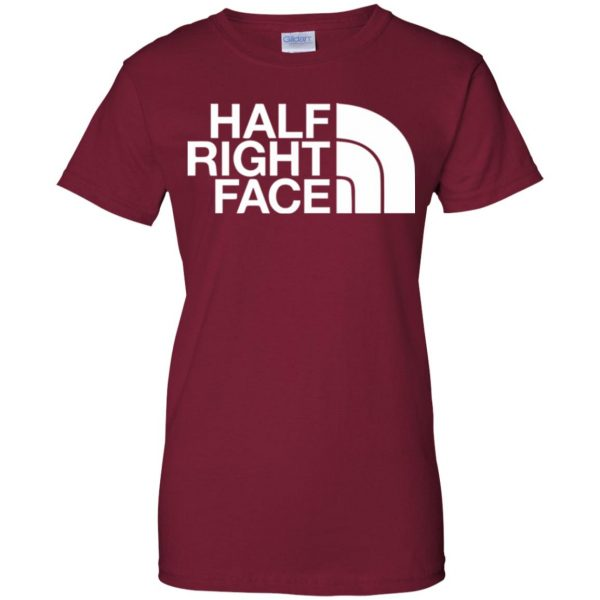half right face womens t shirt - lady t shirt - pink cardinal