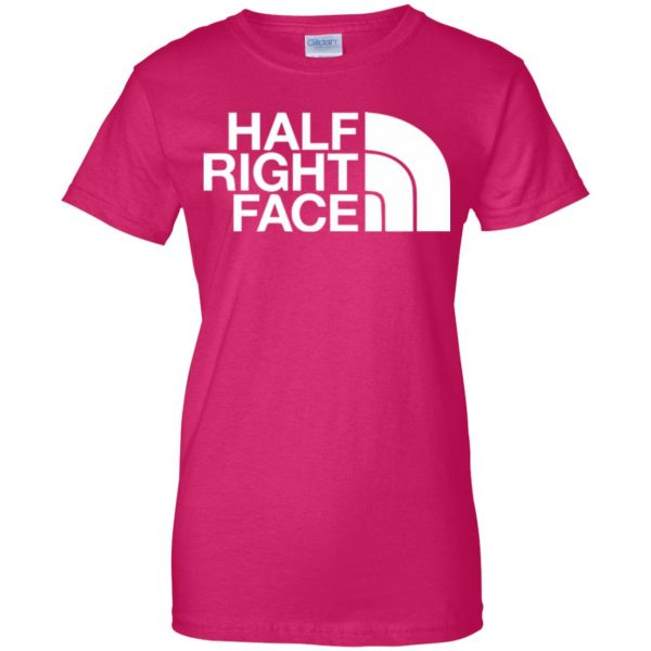 half right face womens t shirt - lady t shirt - pink heliconia