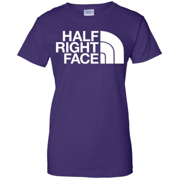 half right face womens t shirt - lady t shirt - purple