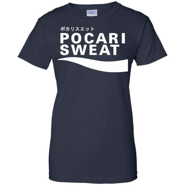pocari sweat womens t shirt - lady t shirt - navy blue