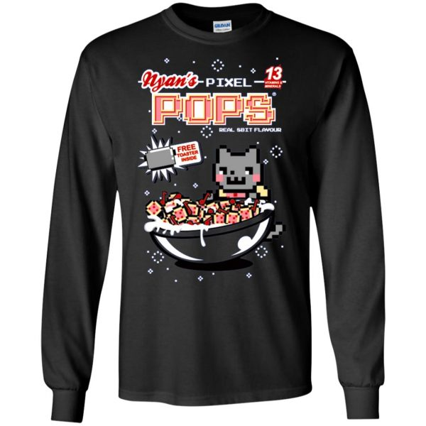 nyan pixel pops long sleeve - black