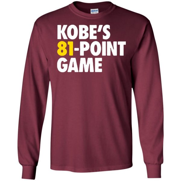 kobe 81 points long sleeve - maroon