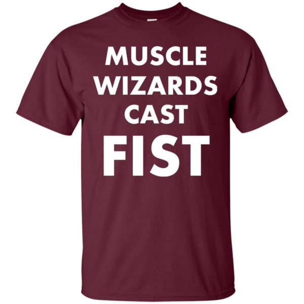 muscle wizards cast fist t shirt - maroon
