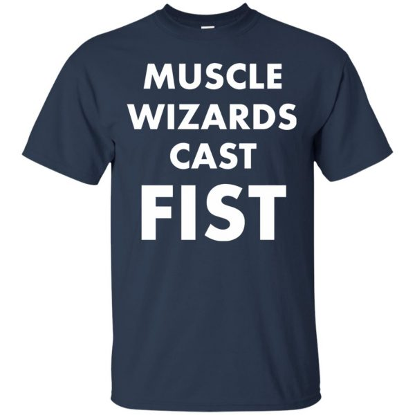 muscle wizards cast fist t shirt - navy blue