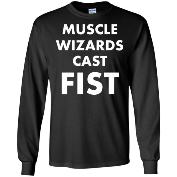 muscle wizards cast fist long sleeve - black