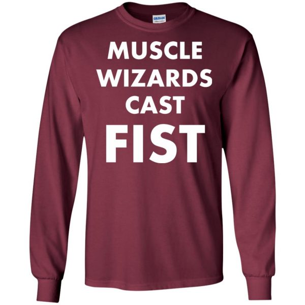 muscle wizards cast fist long sleeve - maroon
