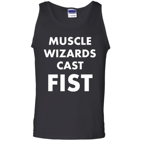 muscle wizards cast fist tank top - black