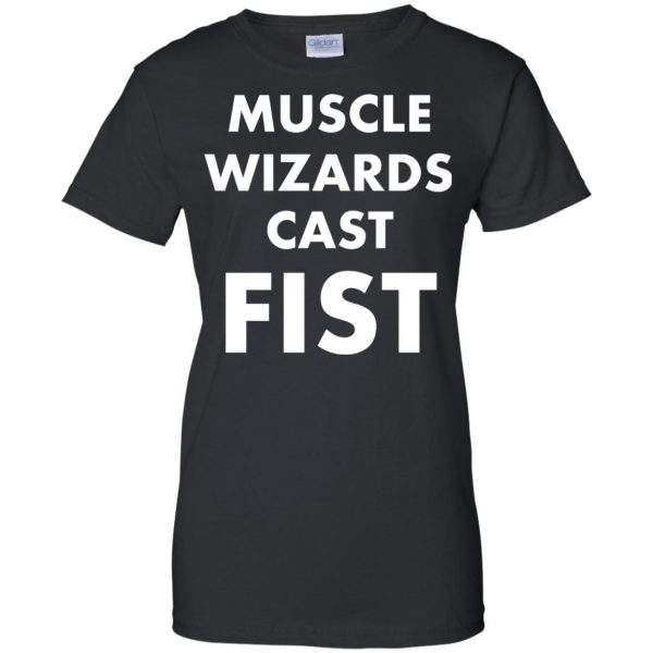 muscle wizards cast fist womens t shirt - lady t shirt - black