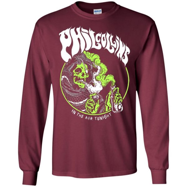 phil collins metal long sleeve - maroon