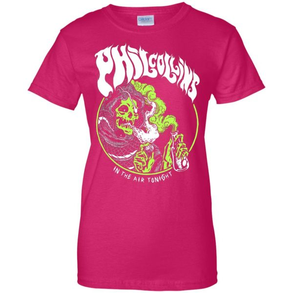 phil collins metal womens t shirt - lady t shirt - pink heliconia