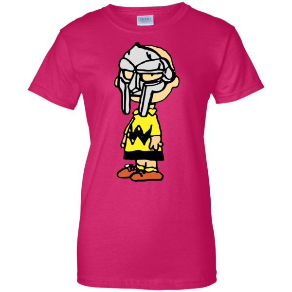 mf doom charlie brown womens t shirt - lady t shirt - pink heliconia