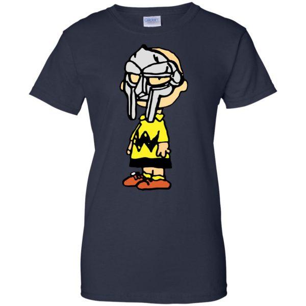 mf doom charlie brown womens t shirt - lady t shirt - navy blue