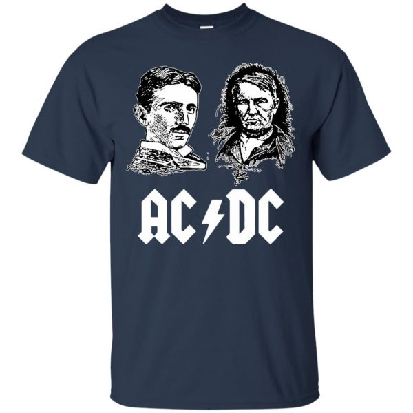ac dc tesla edison t shirt - navy blue