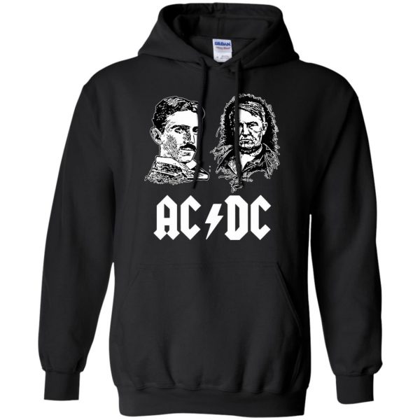 ac dc tesla edison hoodie - black