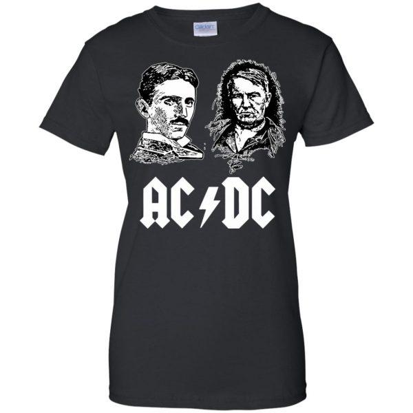 ac dc tesla edison womens t shirt - lady t shirt - black