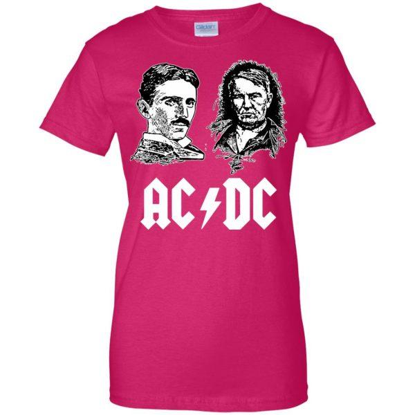 ac dc tesla edison womens t shirt - lady t shirt - pink heliconia