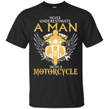 Man With A Motorcycle T-shirt - black