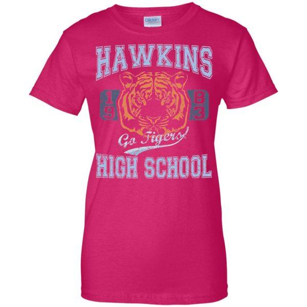 Hawkins High School womens t shirt - lady t shirt - pink heliconia