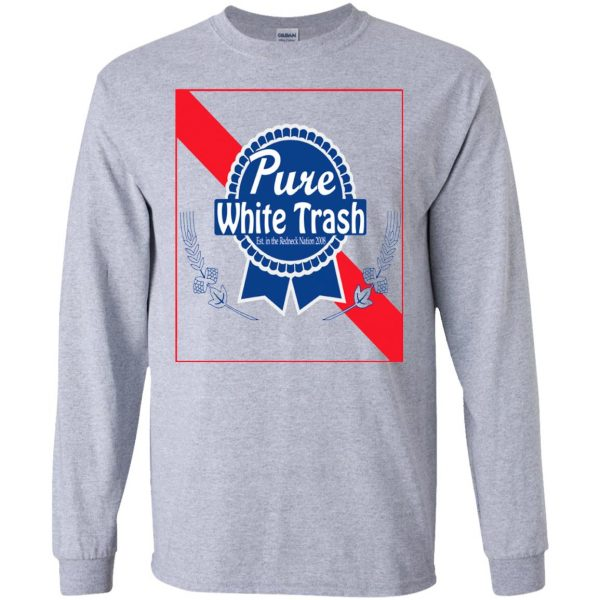 pure white trash long sleeve - sport grey