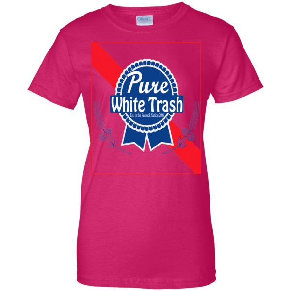 pure white trash womens t shirt - lady t shirt - pink heliconia