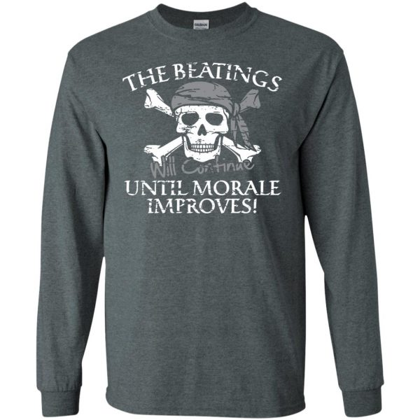 the beatings will continue until morale improves long sleeve - dark heather