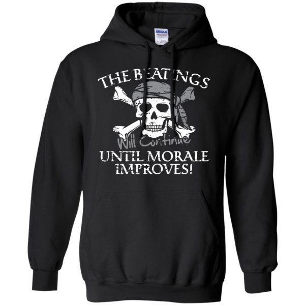 the beatings will continue until morale improves hoodie - black