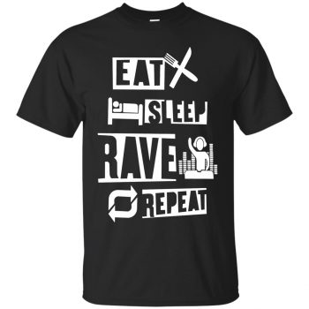 eat sleep rave repeat shirts - black