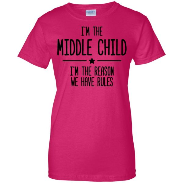 middle child womens t shirt - lady t shirt - pink heliconia