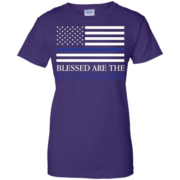 blessed are the peacemakers thin blue line womens t shirt - lady t shirt - purple