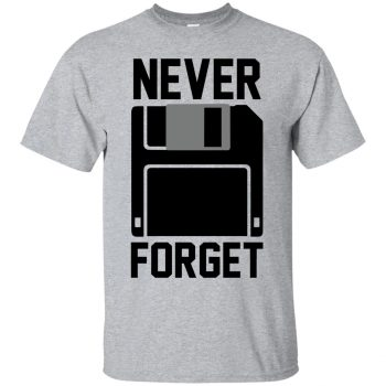never forget floppy disk shirt - sport grey
