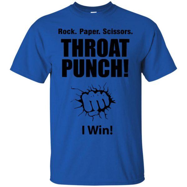 rock paper scissors throat punch t shirt - royal blue