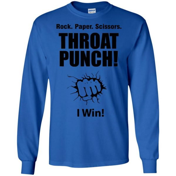 rock paper scissors throat punch long sleeve - royal blue