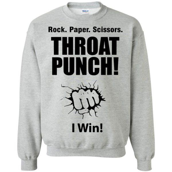 rock paper scissors throat punch sweatshirt - sport grey