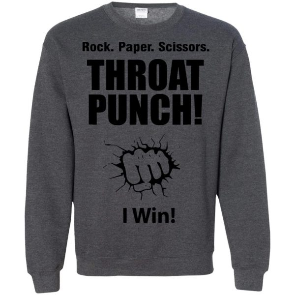 rock paper scissors throat punch sweatshirt - dark heather