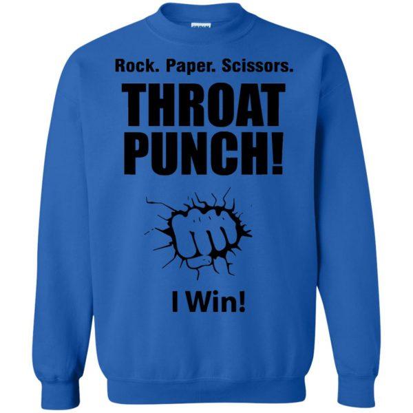 rock paper scissors throat punch sweatshirt - royal blue