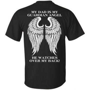 my dad is my guardian angel hoodie - black