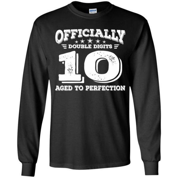 double digits birthday shirt kids long sleeve - black