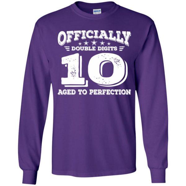 double digits birthday shirt kids long sleeve - purple