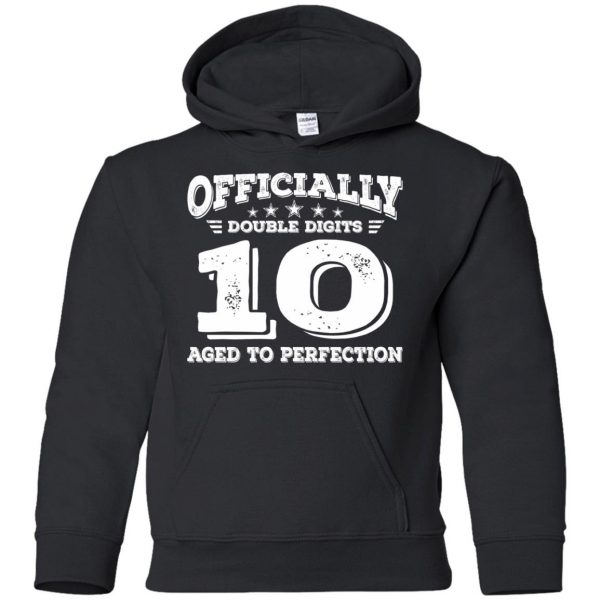 double digits birthday shirt kids hoodie - black