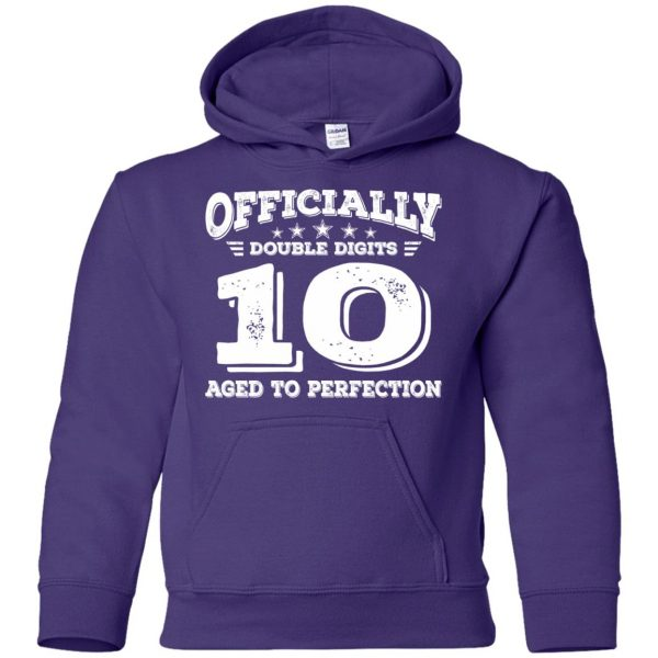 double digits birthday shirt kids hoodie - purple