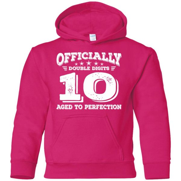 double digits birthday shirt kids hoodie - pink heliconia