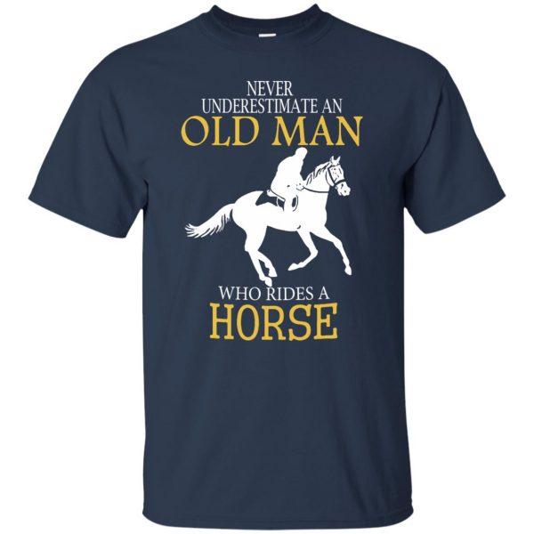 horse riding man shirt t shirt - navy blue
