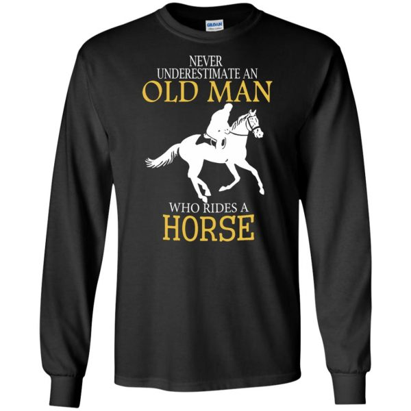 horse riding man shirt long sleeve - black
