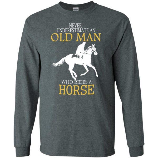 horse riding man shirt long sleeve - dark heather