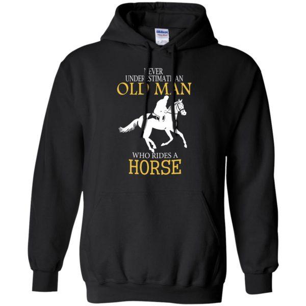 horse riding man shirt hoodie - black